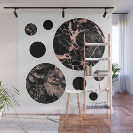 Geometric - Circles, Black Marble Rose Gold Wall Mural
