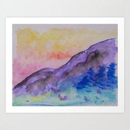 purple mountainside Art Print