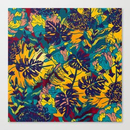 Summer Tropical Leaves Canvas Print