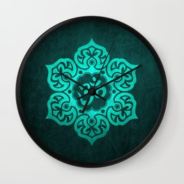 Vintage Scratched Teal Blue Lotus Flower Yoga Om Wall Clock
