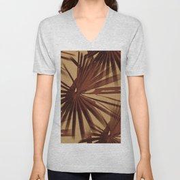Burgundy and Coffee Tropical Beach Palm Vector Unisex V-Neck
