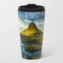 Triple waterfalls of Kirkjufell in Iceland II Travel Mug
