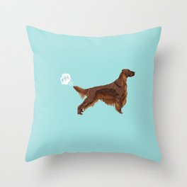 Irish Setter farting dog cute funny dog gifts pure breed dogs Throw Pillow