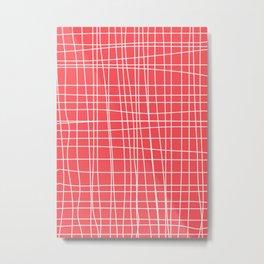 Simple Grid on Red Metal Print