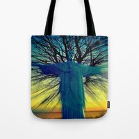 jesus Tote Bags featuring jesus by  Agostino Lo Coco