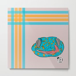 Blue and Orange Gecko Plaid Metal Print