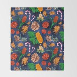 Australian Native Floral Christmas Pattern Throw Blanket