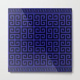 Greek Key (Navy Blue & Black Pattern) Metal Print