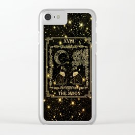 "Tarot ""The moon"" - gold - cat version Clear iPhone Case"