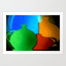 Colored jugs. Art Print