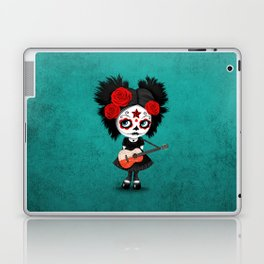 Day of the Dead Girl Playing Polish Flag Guitar Laptop & iPad Skin