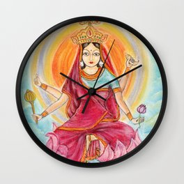 Beautiful Hindu goddess rendering Siddhidatri. Navaratri. Day 9. Pastel drawing. Wall Clock