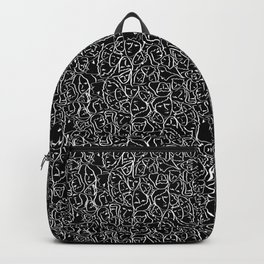 Mini Elio Ink Shirt Faces in White Outlines on Black CMBYN Backpack