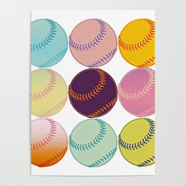 Pop Art Baseballs Poster