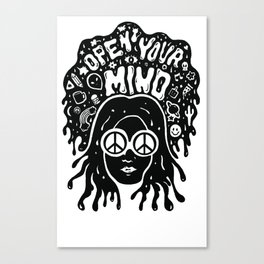 Open Your Mind in black Canvas Print