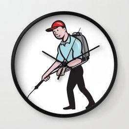 Pest Control Exterminator Spraying Cartoon Wall Clock