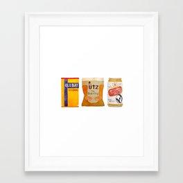 Baltimore Favorites - Old Bay, Bag o' Chips and a Cold Beer Framed Art Print