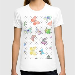 Colorful pink teal watercolor hand painted butterfly polka dots T-shirt