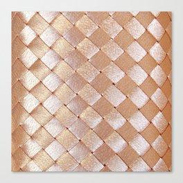 Vintage elegant coral faux gold satin weaved pattern Canvas Print
