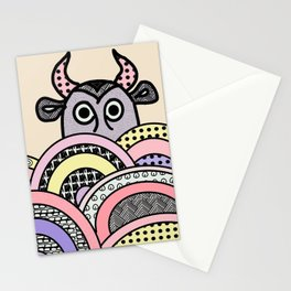 pink cow . illustration Stationery Cards