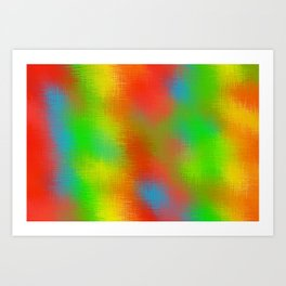 red yellow green and blue plaid texture Art Print