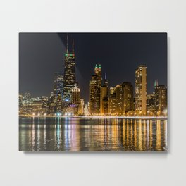 Chicago North Shore Skyline Night Metal Print