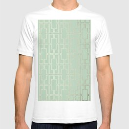 Simply Mid-Century in White Gold Sands and Pastel Cactus Green T-shirt