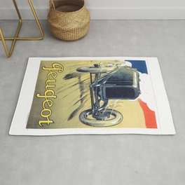 1900 Peugeot Automobile Advertising Poster Rug