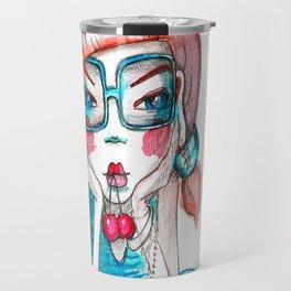 girl with cherry Travel Mug