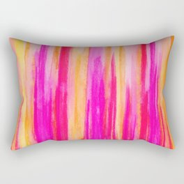 Welcome to Funky Town - Disco Inferno Dance Party Bold Rainbow Stripes Abstract Watercolor Painting Rectangular Pillow
