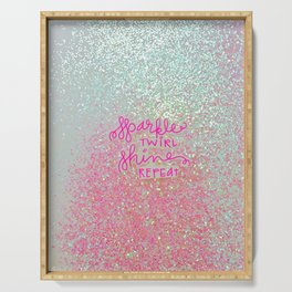 Sparkle Twirl Shine Repeat - White / Pink Sparkle Serving Tray