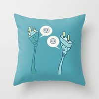 lost in translation Throw Pillows featuring LOST IN TRANSLATION by AnishaCreations
