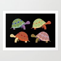 turtles Art Prints featuring Turtles by TypicalArtGuy