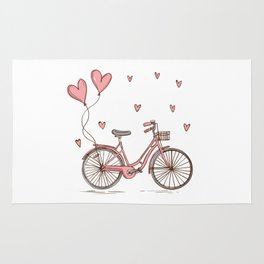 Retro vintage bicycle print with heart shaped balloons Rug