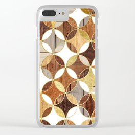 Wood and Gold Geometric Clear iPhone Case