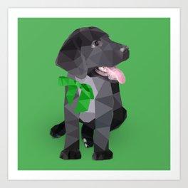 Low Polygon Black Labrador - Green Bow Art Print