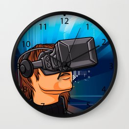illustration of man  with headset glasses Wall Clock