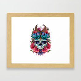 Neo Traditional Patterned Moth and Skull Framed Art Print