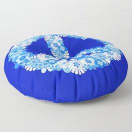 Peace Sign Floral Blue Floor Pillow