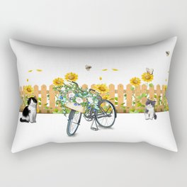 Cats Summer Garden Bike Butterflies Rectangular Pillow