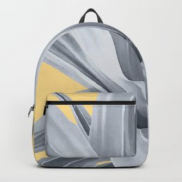 Grey Leaves. Tropical. yellow. Backpack