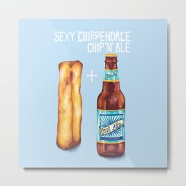 Food Pun - Sexy Chip 'N' Ale Metal Print
