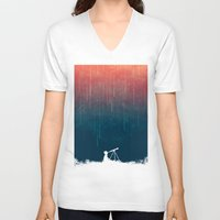 astronomy V-neck T-shirts featuring Meteor rain by Picomodi