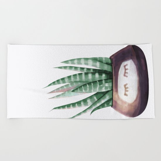 Sleepy Succulent Mint Green + Plum Beach Towel