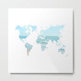 World Map Beach 12-24 Metal Print
