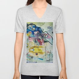 Displacement Glitch-Colorful Abstract Art Unisex V-Neck