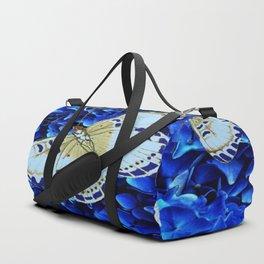 WHITE-PURPLE BUTTERFLIES BLUE MODERN ART Duffle Bag