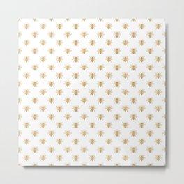 Gold Metallic Faux Foil Photo-Effect Bees on White Metal Print