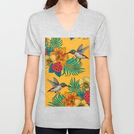 Hummingbirds and tropical bouquet in yellow Unisex V-Neck