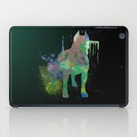 pitbull iPad Cases featuring Green Pitbull by Candice Boux